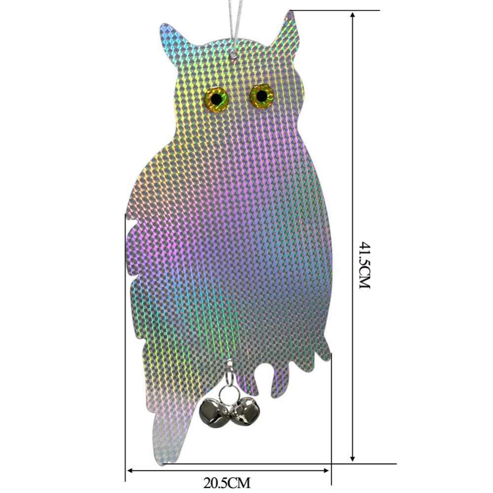 Garden Laser Reflektif Palsu Burung Hantu Supplies Menggantung Reflektif Burung Hantu Orang-orangan Sawah Takut Burung Merpati Burung Pelatuk Anti Burung