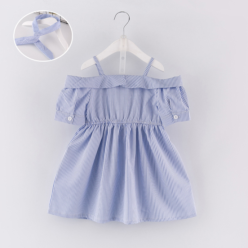 2018 New Summer Style Baby Girl Clothing Cute Party Princess Dresses Striped Shoulderless Wedding Dress Toddler Girl Child Cloth