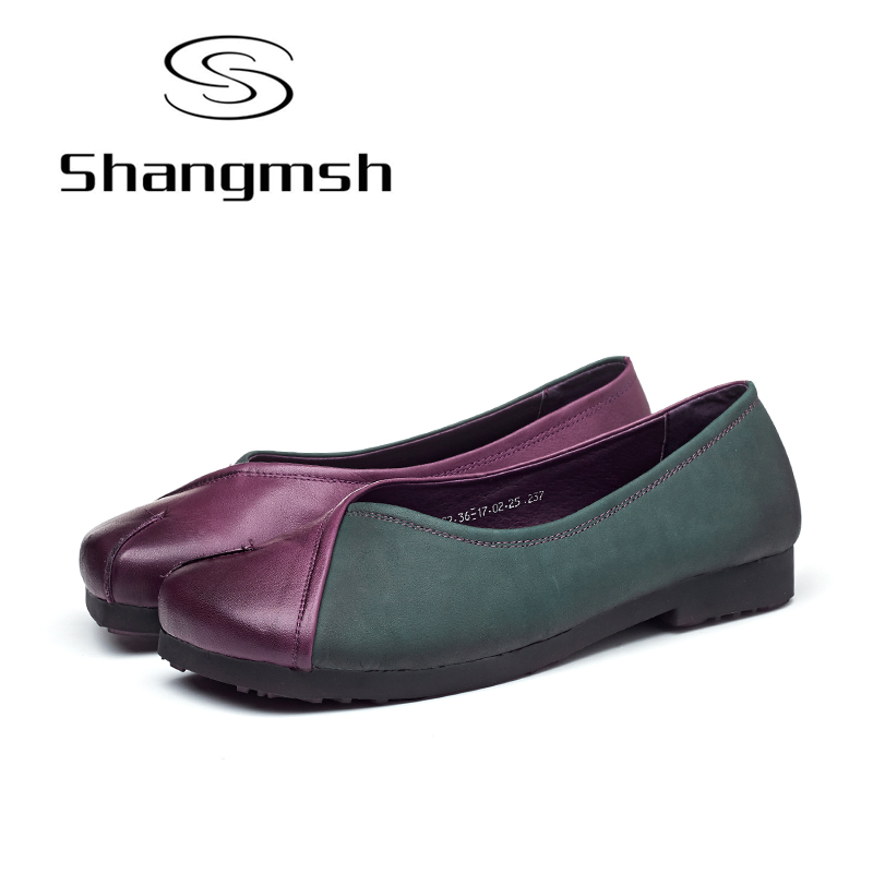 Shangmsh shoes for women Genuine leather Summer women's shoes Soft Ladies flat shoes Female Moccasins Flats Nurse Peas Loafers цены онлайн
