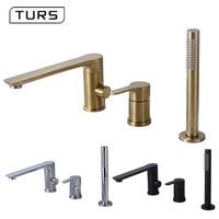 Bathroom Shower Faucet Bath Shower Set Waterfall Bathtub Sink Faucet Water Mixer Sink Taps Brass Chrome & Black & Brushed Gold