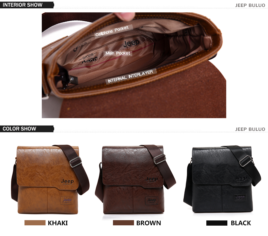 Men Tote Bags Set JEEP BULUO Famous Brand New Fashion Man Leather Messenger Bag Male Cross Body Shoulder Business Bags For Men 6