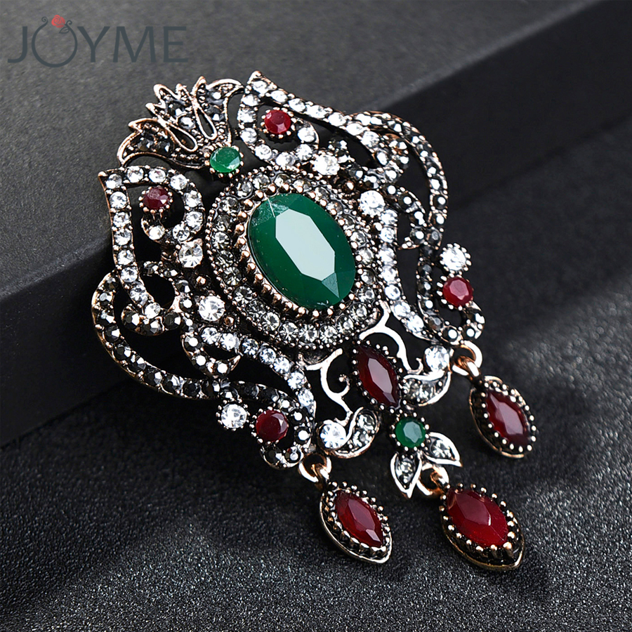 Detail Feedback Questions about Ethnic Arabesque Flower Brooches Turkish  Green Jewelry Women Retro Gold Color Red Resin Rhinestone Broches Brooch  Hijab Pin ... f1f61baf459f