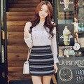 La moda coreana nuevas mujeres de faldas, elegante color del golpe delgado jacquard de rayas de lana faldas envío gratis para mujer faldas S65034