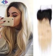 Top Grade Blonde Ombre Straight Hair Closure 100% Human Hair Brazilian Closure Bleached Knots Two Tone #1B/613 Lace Closure
