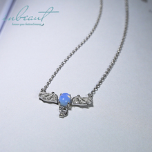 inbeaut Silver Stereo Bat Blue Moonstone Pendant Necklace 925 Micro White CZ Oval Stone Beads Clavicle Necklaces for Women