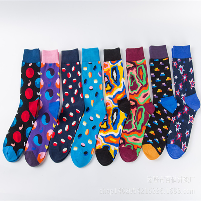Happy socks Star Skating Novelty Fun Leisure Harajuku Men Cotton Socks Argyle Street Business Dress Crew Happy Sox Chaussettes
