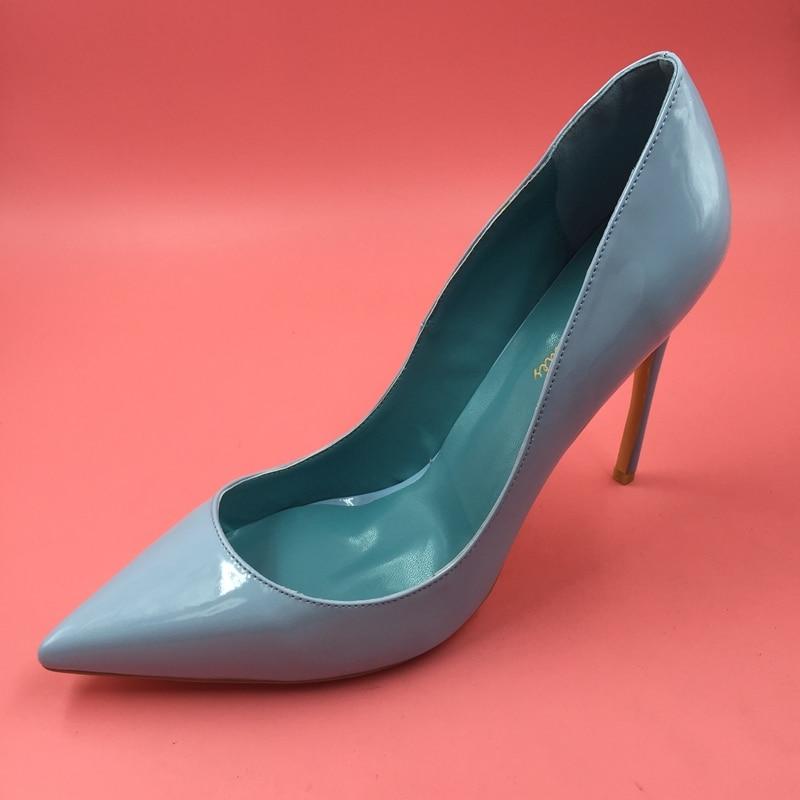 купить Light Blue Patent Leather Women Pumps Pointed Toe Dress Shoes Stilettos High Heel Size 43 Shoes Slip-ons Spring Designer по цене 5018.22 рублей