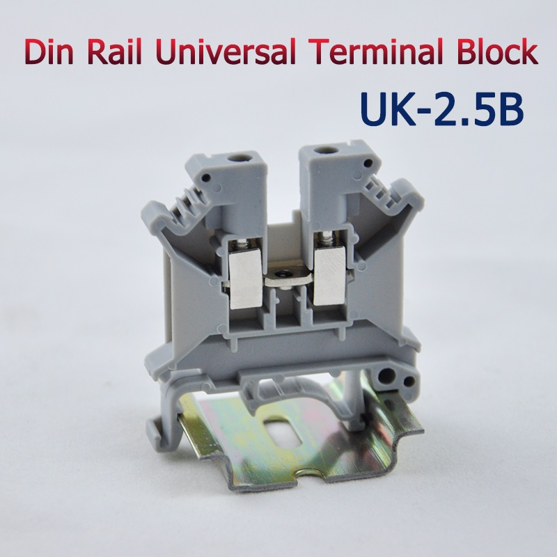 50pcs UK-2.5B DIN Rail Universal Terminal Blocks Screw Type UK2.5B Phoenix Type High Quality 50pcs uk5 twin uk5rd 4mm2 din rail screw clamp fuse terminal blocks connector