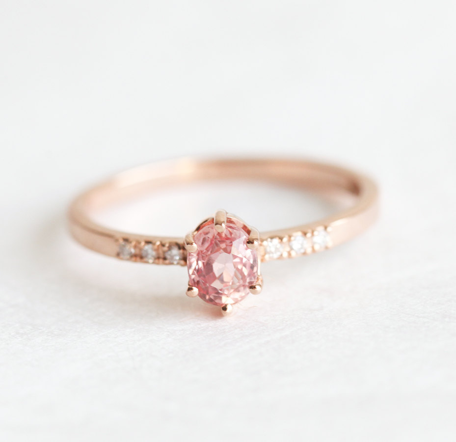 ring alysha petite pink of copy wedding diamond sapphire gold simple products baguette whitfield hammer texture rings yellow