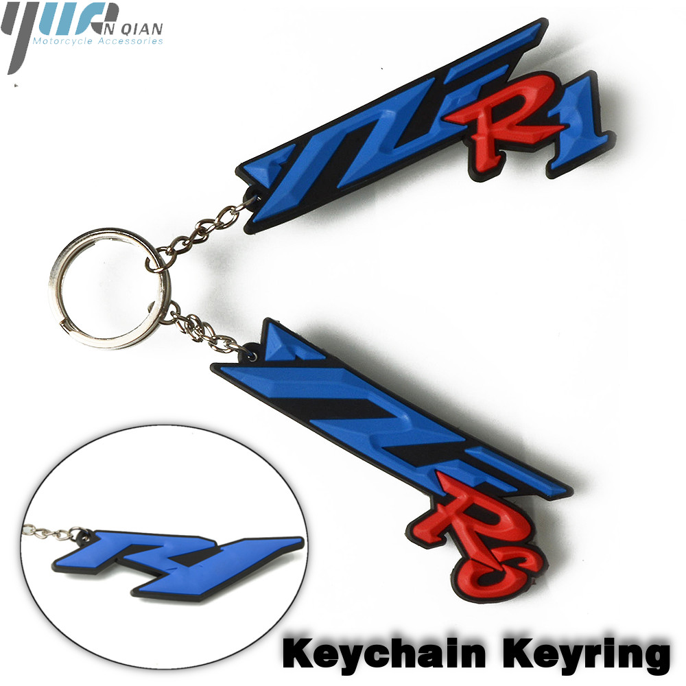 2 X Rubber Yamaha Racing Biker Motorcycle Keychain Key Ring Black and Red