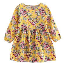 Летние платья для малышей Детская Обувь для девочек с длинными рукавами платье принцессы с цветочным рисунком сезон: весна–лето платье одежда для маленьких девочек
