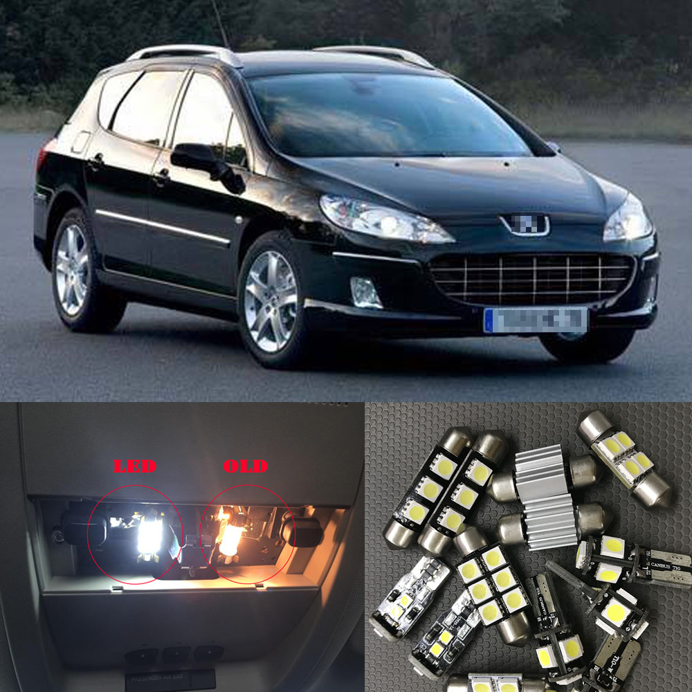11Pcs Cool White Canbus <font><b>LED</b></font> Car Bulbs Interior Package Kit For <font><b>Peugeot</b></font> <font><b>407</b></font> SW 2004-2010 Map Dome Trunk Glove Box Light image