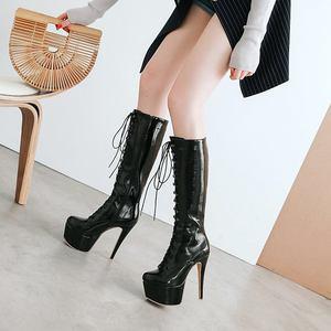 Image 2 - MORAZORA/2020; Новое поступление; Женские сапоги до колена с круглым носком; Осенние сапоги на платформе со шнуровкой; Пикантные сапоги на шпильке; Обувь для выпускного вечера