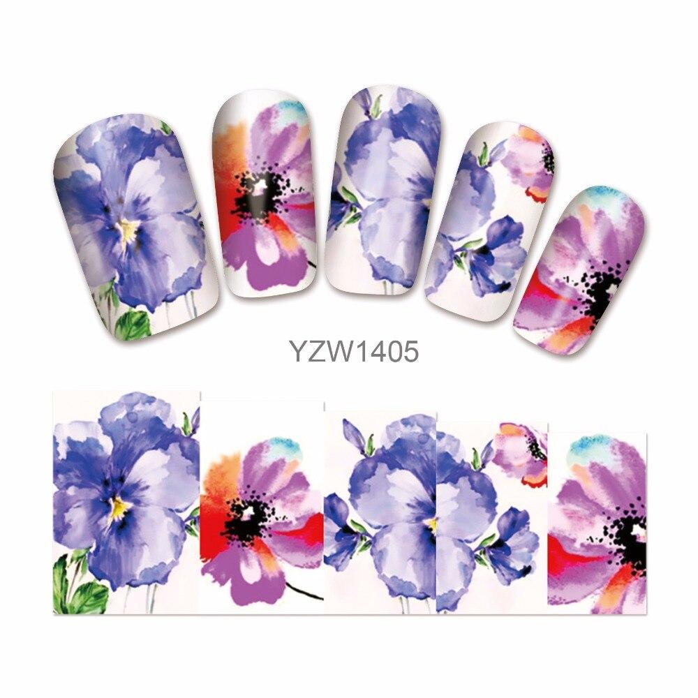 ZKO 1 Hoja de Tatuajes de Agua Nail Stickers Flor Francés Tips Nail Art Decoraci
