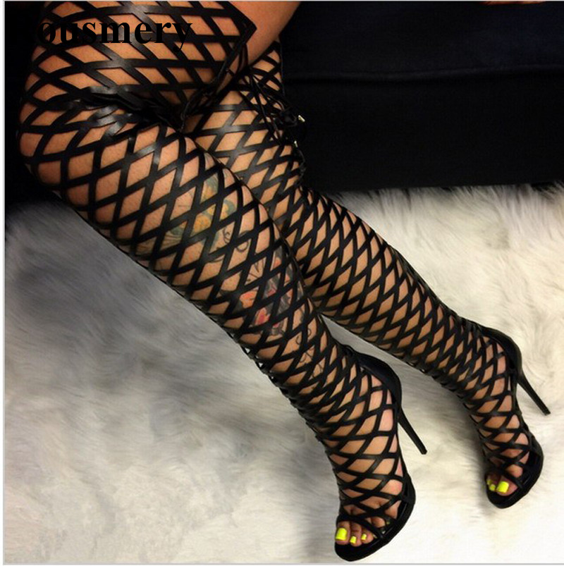 Women Sexy Open Toe Cage Straps Design Over Knee Gladiator Boots Hottest New Fashion Long High Heel Boots Evening Shoes