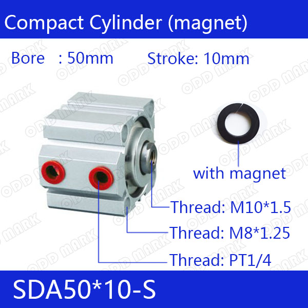 SDA50*10-S Free shipping 50mm Bore 10mm Stroke Compact Air Cylinders SDA50X10-S Dual Action Air Pneumatic Cylinder 50 10