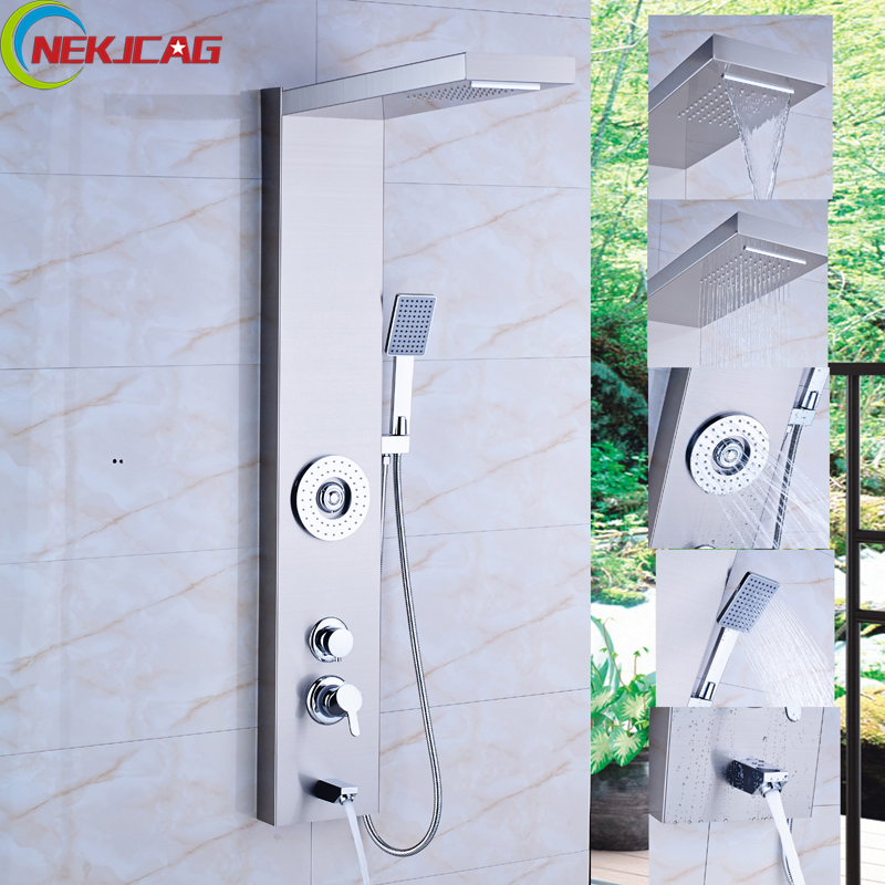 Original Brushed Nickel Finish Massage Jet Tankless Rainfall Shower Tower Bathroom Rainfall Shower Panel Thermostatic Spout Shower Column Back To Search Resultshome Improvement