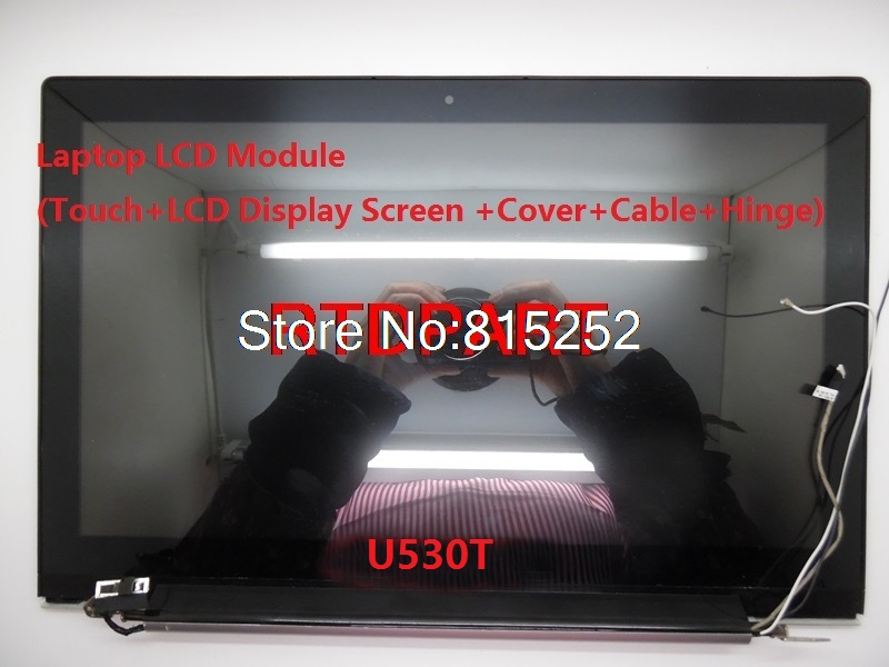 Laptop LCD Touch & Dispaly Screen+Top Cover+Bezel+Hinge+LCD Cable Assembly For Lenovo U530 B156HTN03.4 90400216 90400217 free shipping brand new laptop b cover for lenovo rescuer 14 y41 70 series lcd bezel front frame screen lid b shell