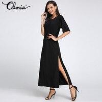 Women Summer Dresses 2017 Side Split Loose Long Dress Curved Hem O Neck Short Sleeve Soild