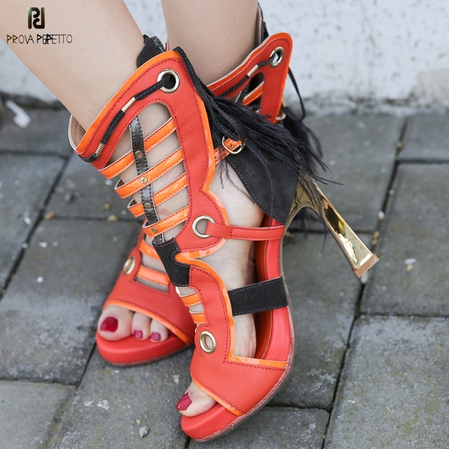 e88990035af Prova Perfetto Fashion Women Summer Hollow Out High Heels Sandals Feather  Tassels Leather Band Cross Tied Metal Heels Sandals