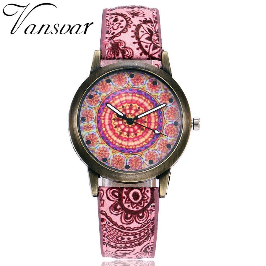 Vansvar Brand New Women Creative Vintage Watches Ladies Casual Leather Quartz Wristwatches Clock Hours Relogio Feminino Hot