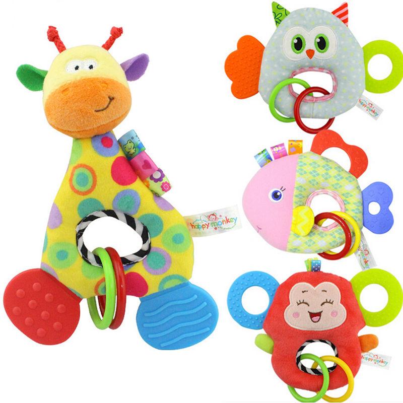 Высокое качество для новорожденных Дети младенческой Детские Прорезыватели для зубов игрушка жираф Обезьяна Мягкие плюшевые игрушки живо...