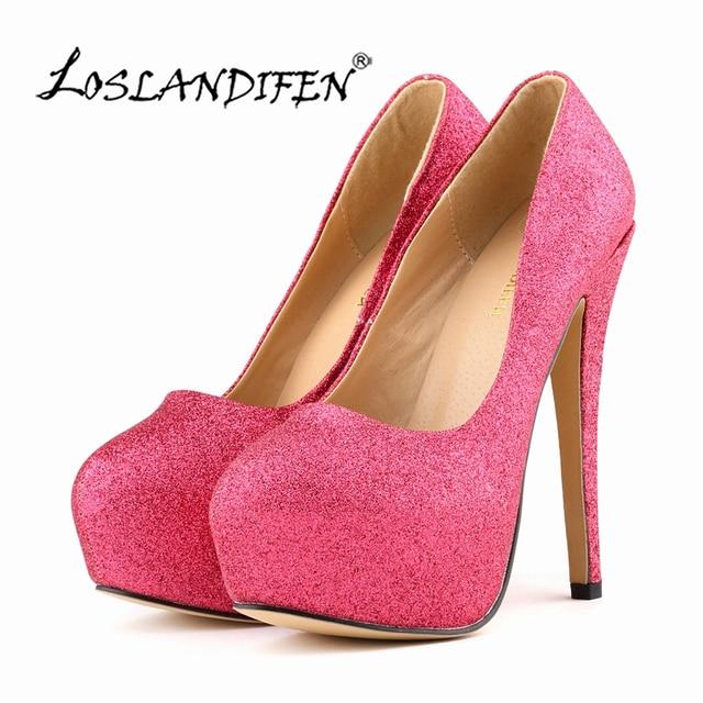 69d95722b558 LOSLANDIFEN Women Pumps New Sweet Shiny Brilliant Glitter 14cm Super High  Heels 4cm Platform Round Toe Women Shoes 817-1Gitter