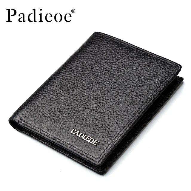 Padieoe New Fashion Brand Men Wallets Slim Genuine Leather Purse Credit Card Holder