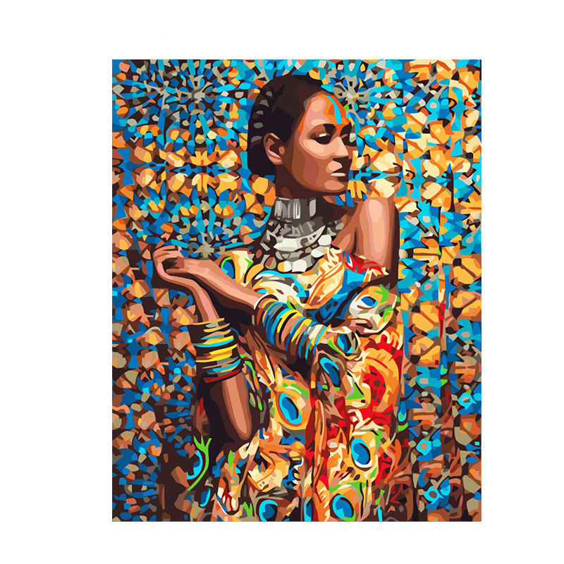 Colorful African Style Hand Made Paint High Quality Canvas Beautiful Painting By Numbers Surprise Gift Great Accomplishment