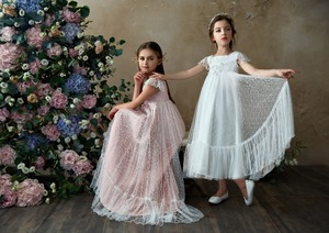 Image 2 - Flower Girl Dresses Lace 3D Flower Appliques Cap Sleeves Girls A line Gowns Birthday Party Toddler 2 11Y