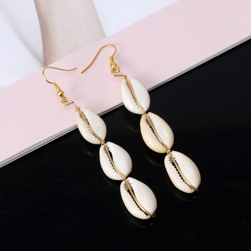 Bohemian Natural Cowrie Shell Pendant Drop Earrings Beach Jewelry for Women