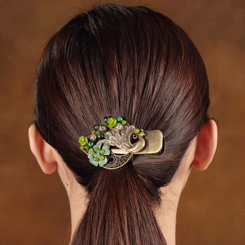 Vintage paon épingle à cheveux corail poudre fleur Barrettes femmes cheveux accessoires tête bijoux artisanat chinois ethnique pince à cheveux