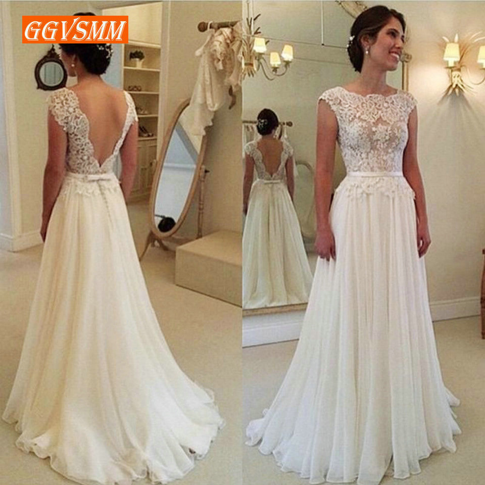 Stylish Boho White Wedding Dresses Long 2019 Ivory Wedding Gowns For Women Scoop Lace Backless A Line Cheap Formal Bride Dress