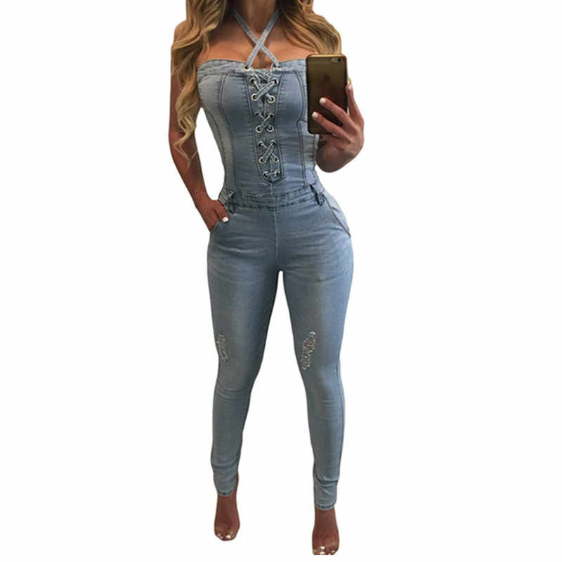 Denim Overalls Women 2018 Sexy Halter Jeans Jumpsuits Square Neck Sleeveless Playsuits Body For Women Rompers Womens Jumpsuit