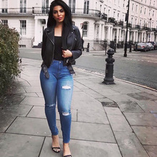 High Waist Skinny Jeans Pencil Pant Hole Elasticity Ripped Jeans Cool Ankle Length Women Jean Plus Size Top Shop Jeans