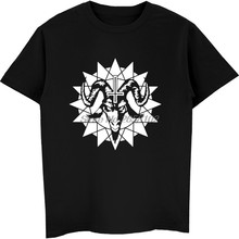Adult Tops & Tees Satanic Goat Head With Chaos Star Hip Hop T-Shirt Men 100% Cotton O-Neck Short Sleeve Harajuku Sweatshirts(China)