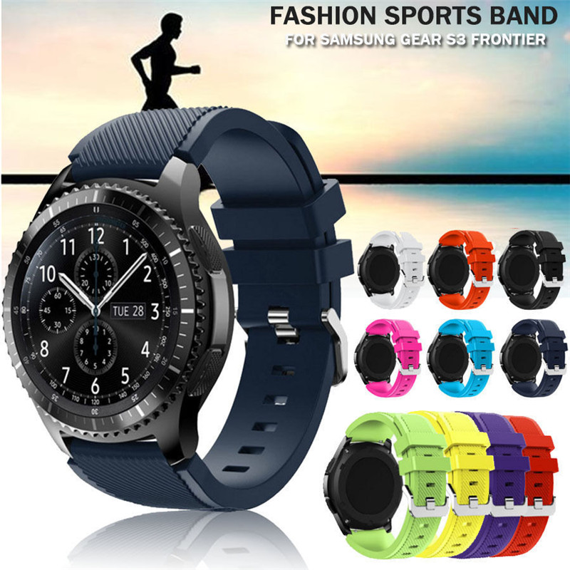 2018 22mm Watchbands luxury brand Fashion Sports Silicone Bracelet Watch Strap Band For S3 Frontier Watch Accessories Wristband mymei pokemon go pikach wristband silicone bracelet party gifts bangle cute fashion