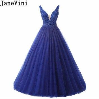 93deaded92ebe JaneVini lüks boncuklu kraliyet mavi balo elbise V boyun balo Backless tül  Sequins bordo gelinlik modelleri örgün önlükler