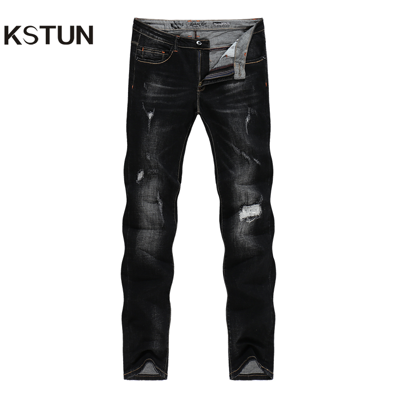 KSTUN Ripped   Jeans   for Men 2019 Winter Stretch Black Slim Fit Denim Pants Hip Hop Streetwear Boys Students Biker Trousers hombre