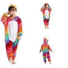 f360b1dcc Colorido unicornio niños pijamas de los niños Unisex Cosplay traje Animal  mono pijamas de punto Panda dinosaurio jirafa