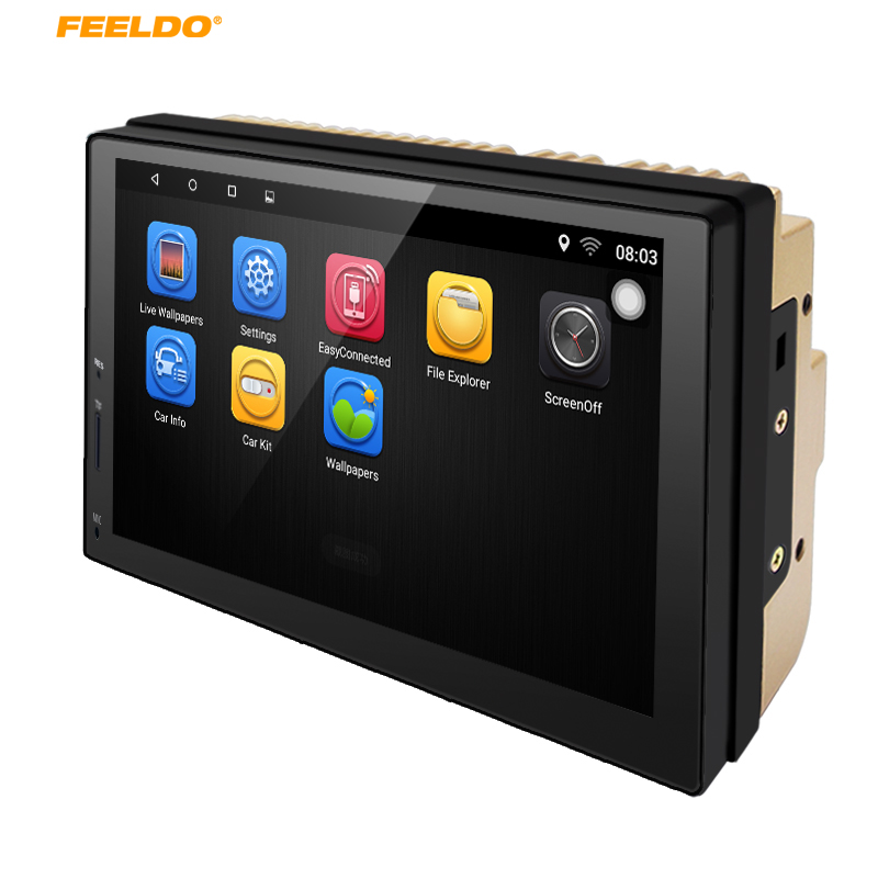 FEELDO 7 Android 6.0 Quad Core 7inch Ultra Slim Car Media Player With GPS Navi Radio For Nissan/Hyundai 2DIN ISO+Gift #AM5437 feeldo 7inch android 4 4 2 quad core car media player with gps navi radio for nissan hyundai universal 2din iso gift am3900