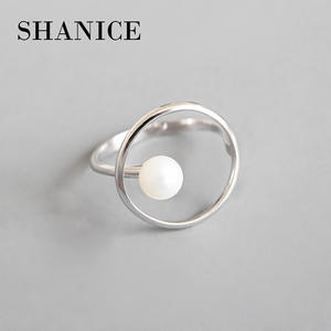 SHANICE Minimalist Jewelry 925 Sterling Silver Simple geometric ring bead Open Finger