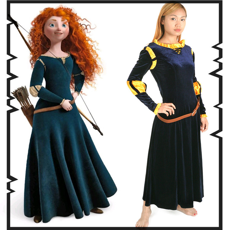 Brave Merida cosplay costume Halloween costumes for women cosplay Princess Merida dress with quiver Merida suit euro size