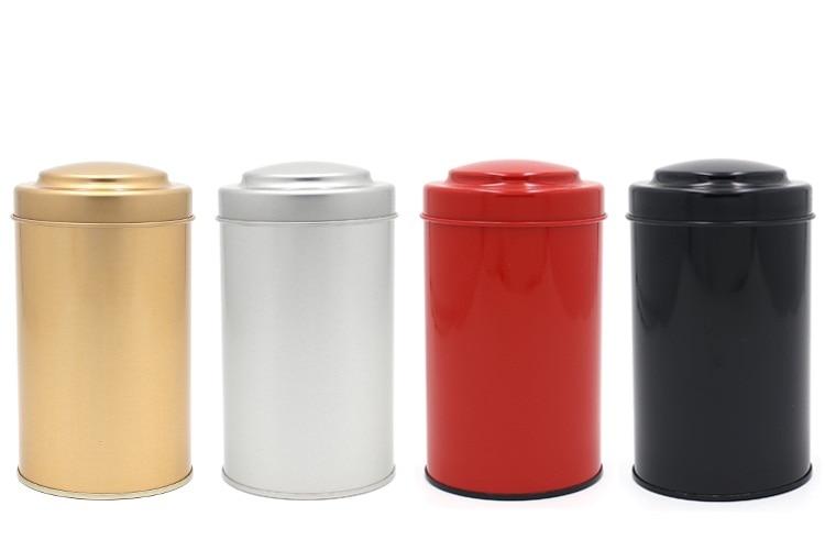 80x145mm Unikátní design Kulatý plechový box čajové konvice jídlo cukroví káva kovová schránka zapečetěná