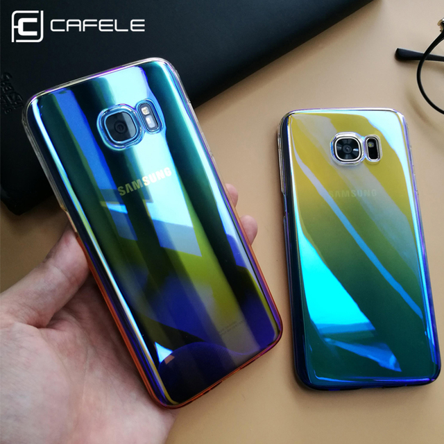 online retailer fddb8 34e28 US $4.99 |CAFELE Case For samsung Galaxy S8 plus Cases luxury Aurora  Gradient Color Transparent light Hard PC Cover For Galaxy S7 Edge-in Fitted  Cases ...