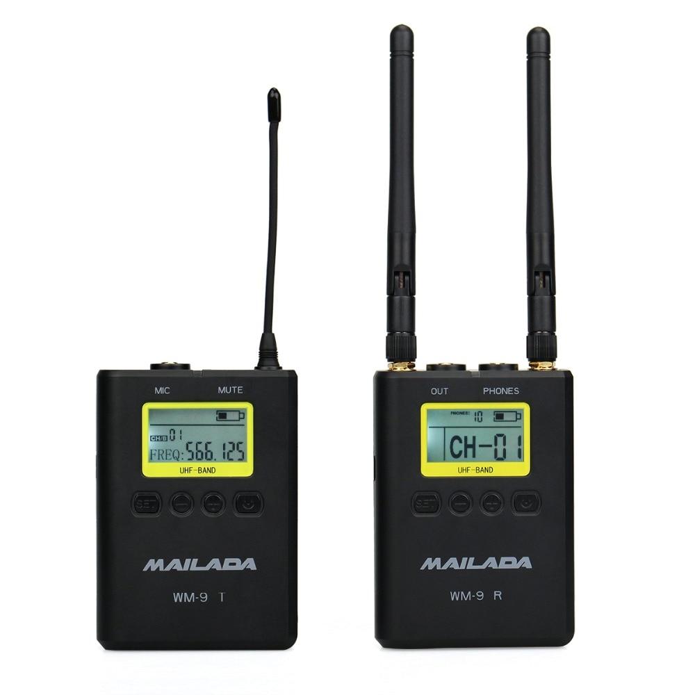 MAILADA WM9 50 Canale Professionale UHF Wireless Sistema di Microfono per DSLR Camcorder Recorder Mic Ricevitore + Trasmettitore F4532A