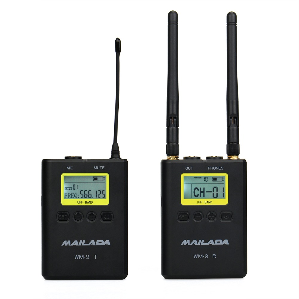 MAILADA WM9 50 Channel Professional UHF Wireless Microphone System for DSLR Camcorder Recorder Mic Receiver +Transmitter F4532A