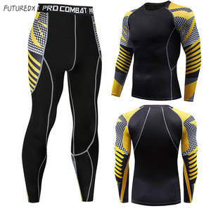Men's winter sun protection compression clothing 3D printing youth MMA clothing thermal underwear men's fitness suit
