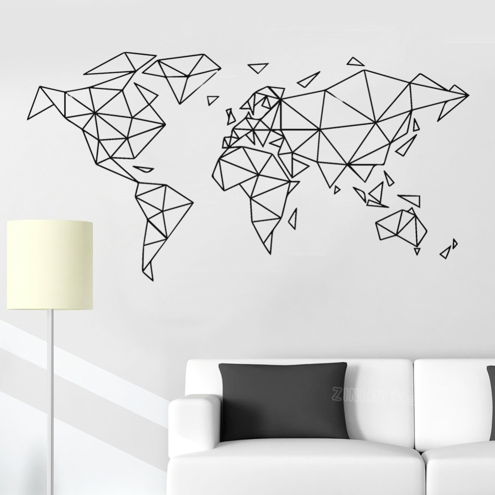 Abstract Geometric World Map Lines Wall Sticker Home Decor Living Room Removable Map Of The World Wall Decals For Bedroom Z241 Map Of The World Map Of Worldmap World Aliexpress