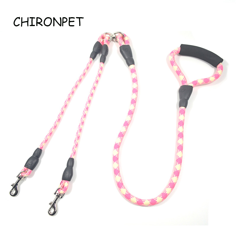 One Drag Two Way Pet Dogs Training Walking Cotton Double hook Multi function Small And Medium